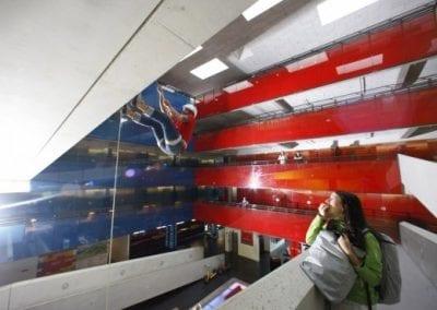cube hotel attrium indoor climbing