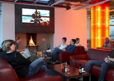 cube hotel chill out lounge open fire place loftarchitektur open fire place
