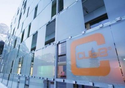 cube hotel glass facade