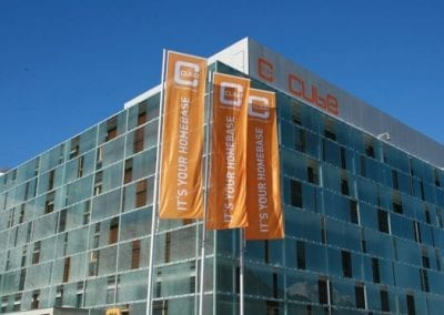 cube hotel savognin outdoor summer flags
