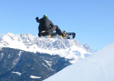 cube hotel winter snowboarder funpark